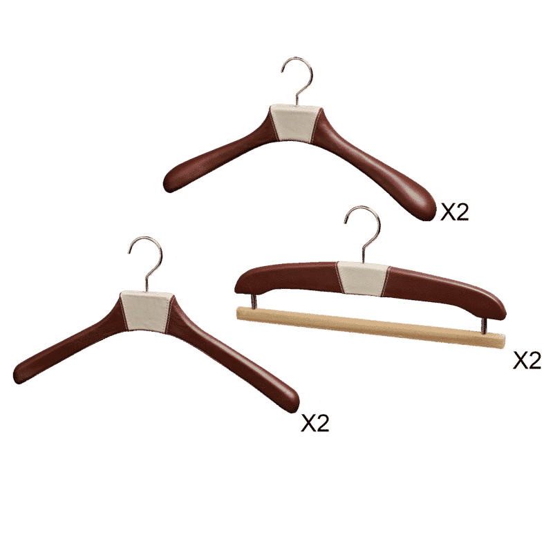 Men's leather hangers set