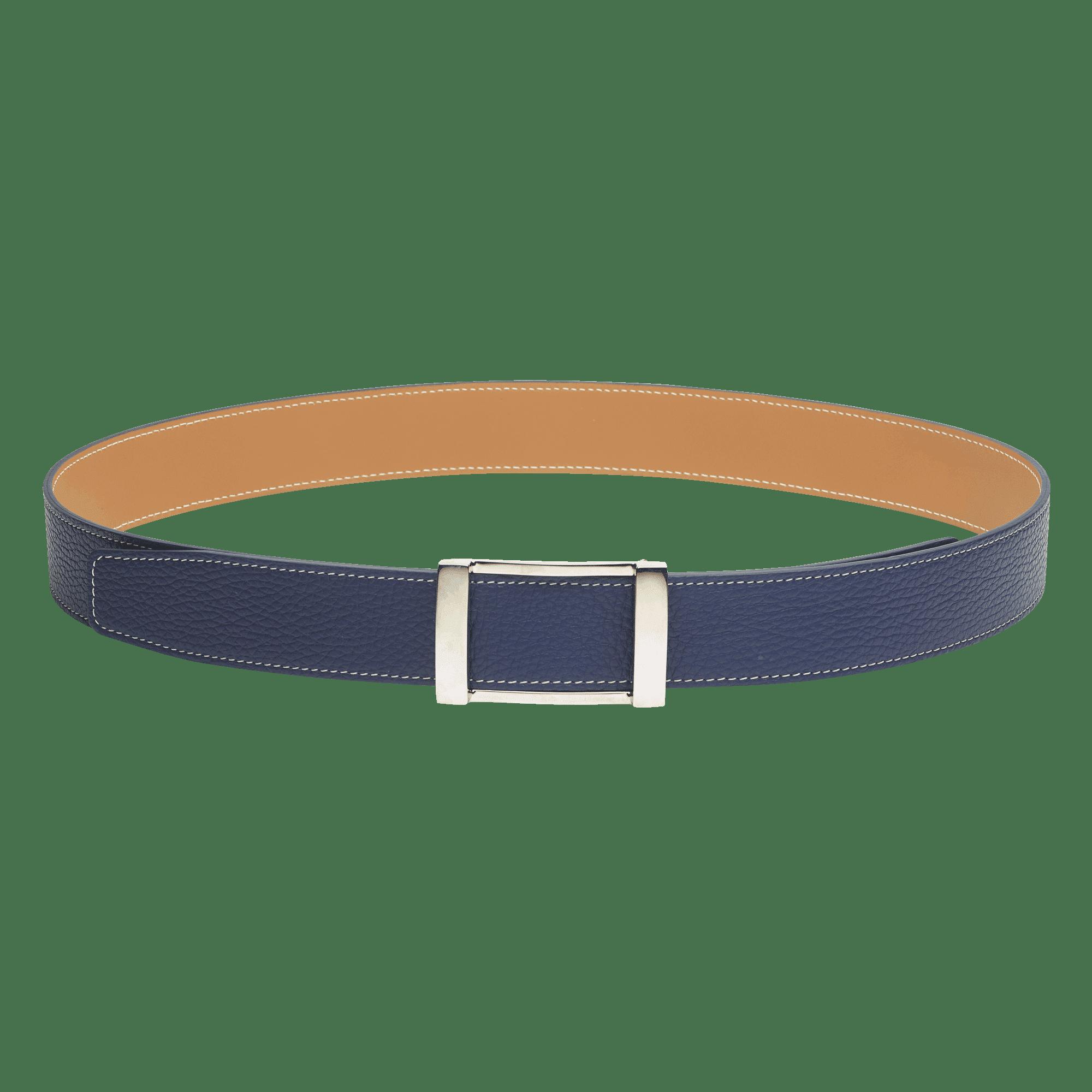 ceinture réversible en cuir bleu et marron