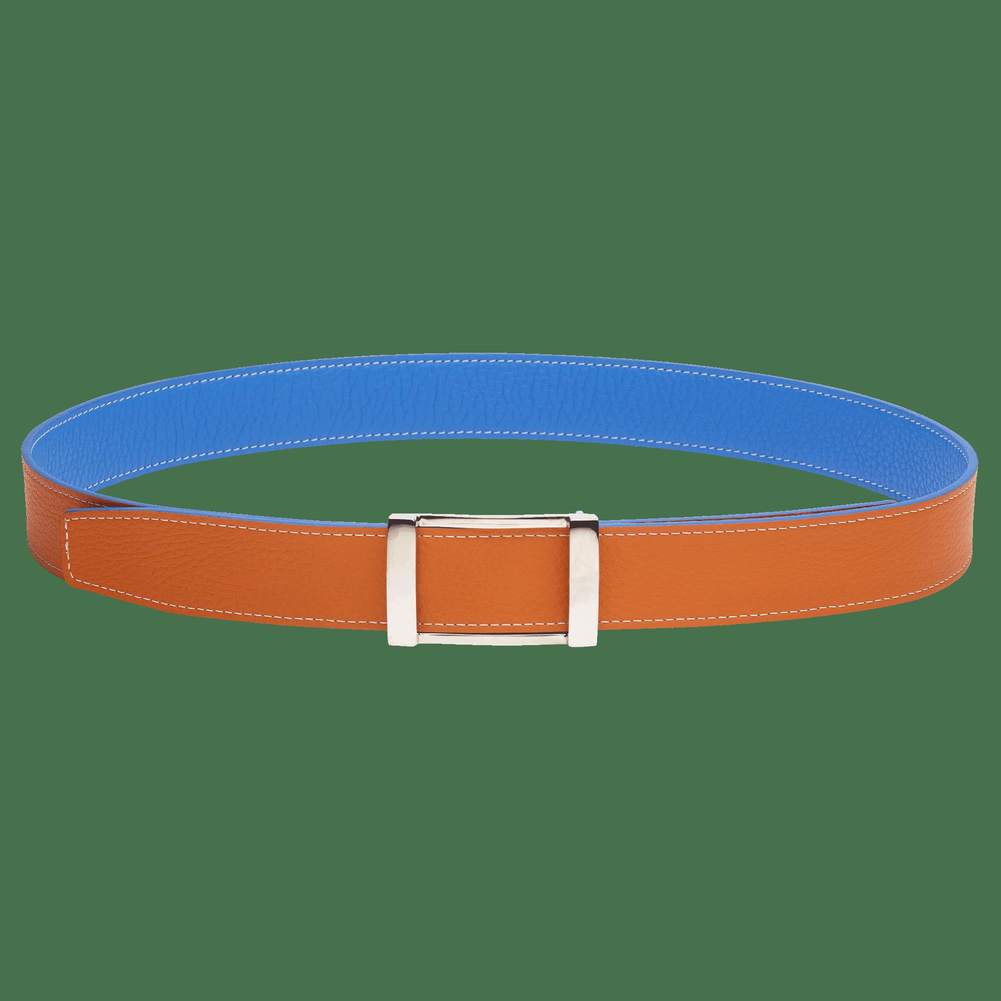 ceinture réversible en cuir bleu et orange