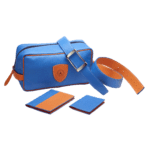 ensemble maroquinerie bleu et orange