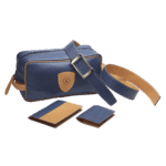 ensemble maroquinerie bleu et marron