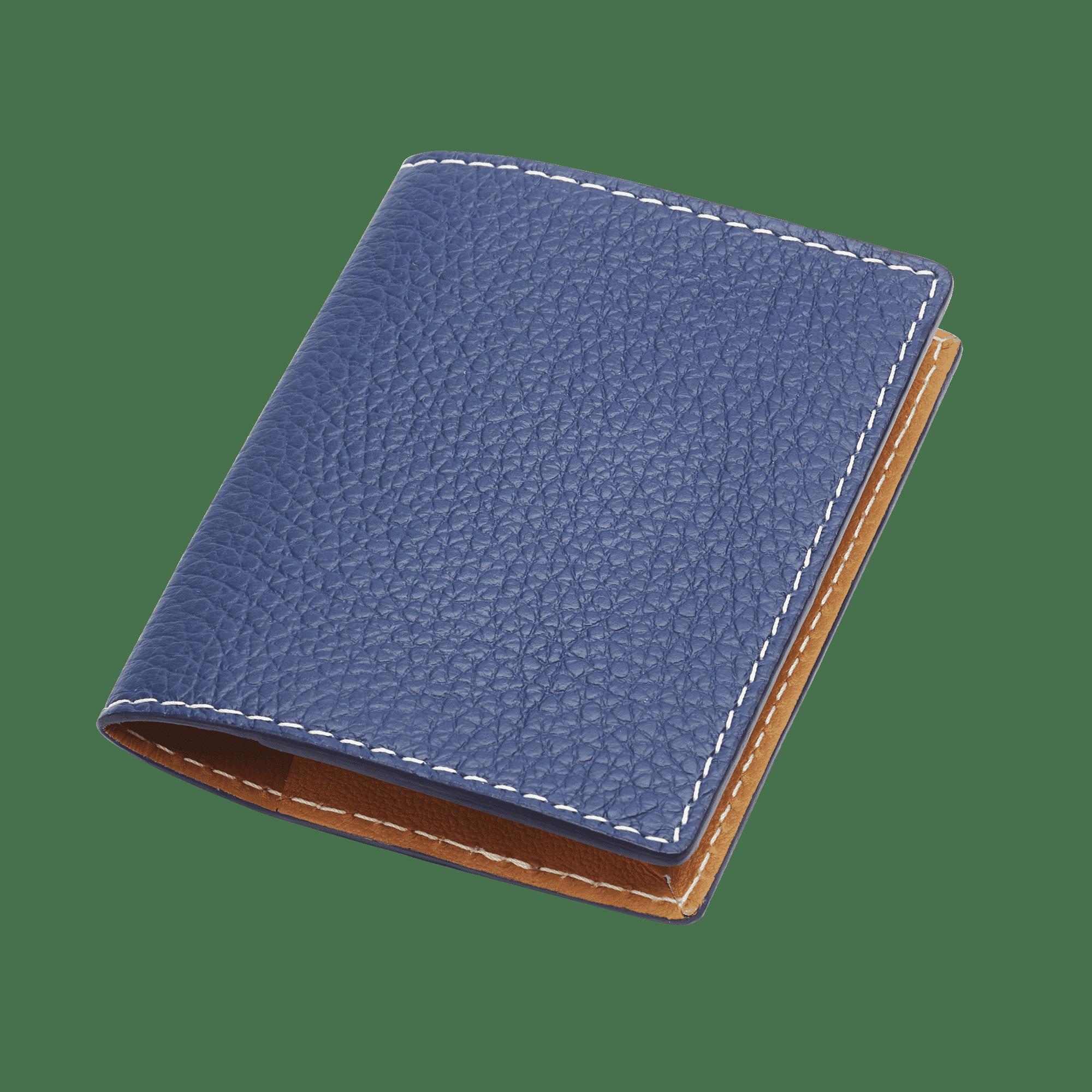 porte carte en cuir bleu et marron