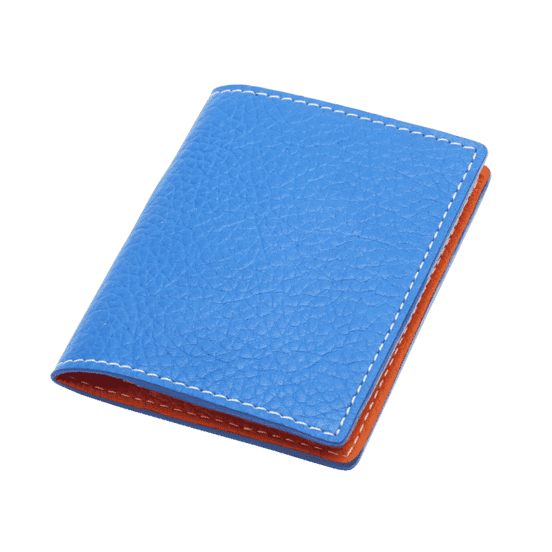 porte carte en cuir bleu et orange