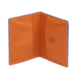 porte carte en cuir bleu et orange