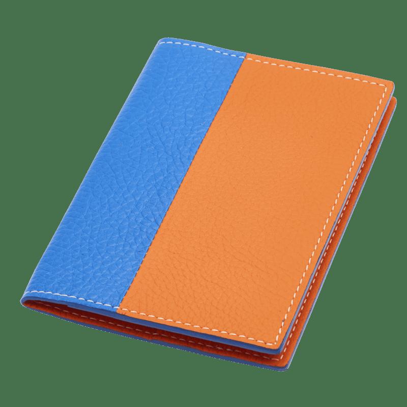 Protège passeport en cuir bleu et orange