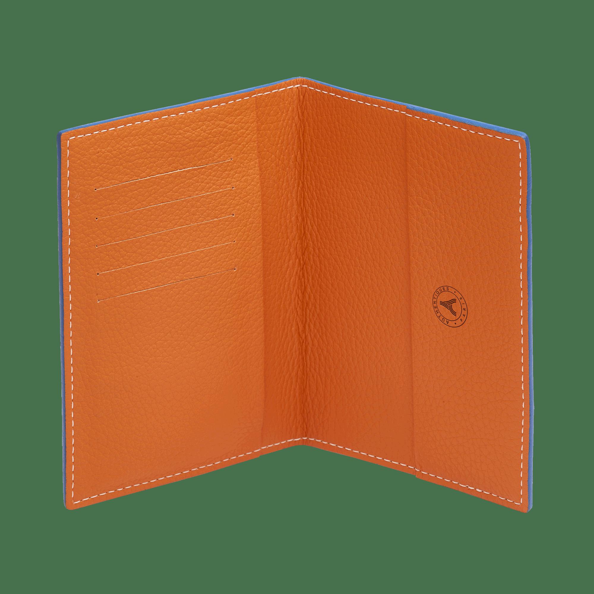porte passeport en cuir bleu et orange